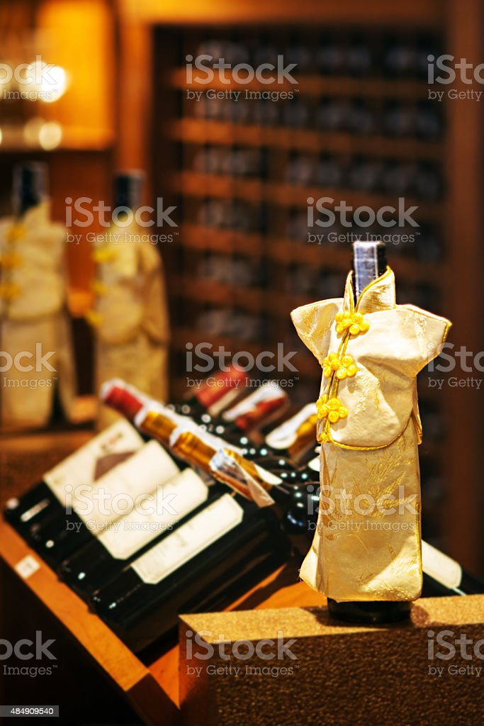wine cellar cabinet in luxury restaurant stock photo