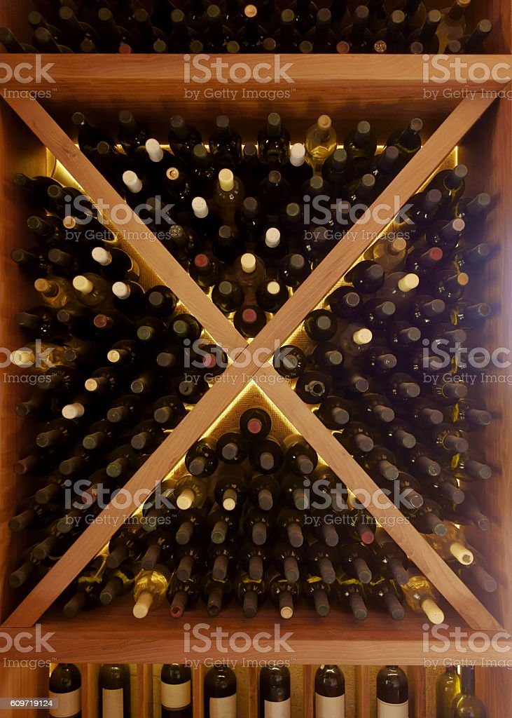 wine cellar detail stock photo