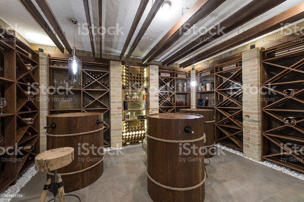 Wine cellar in luxury villa stock photo