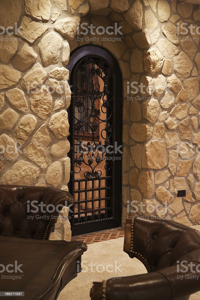 Wine cellar in residential basement. royalty-free stock photo