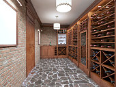 Wine cellar in the basement of house in rustic style.