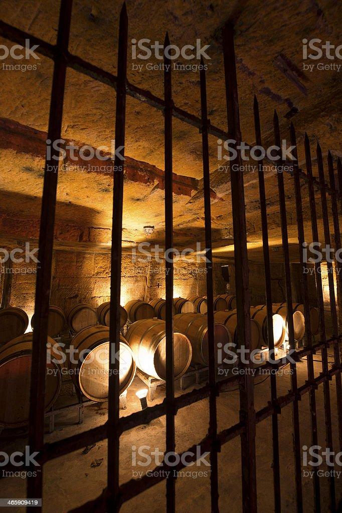 Wine cellar in underground stone quarry stock photo