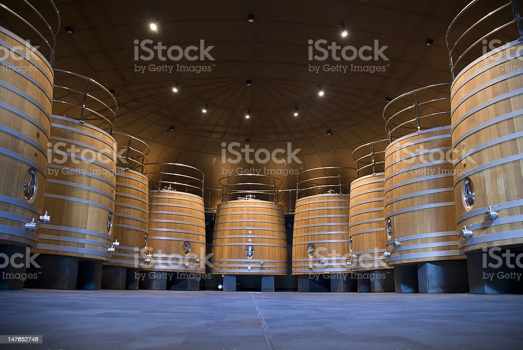 wine cellar with big wooden barrels royalty-free stock photo