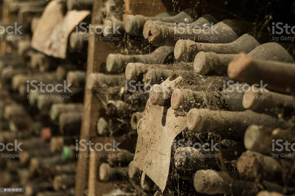 wine cellar with bottles stock photo