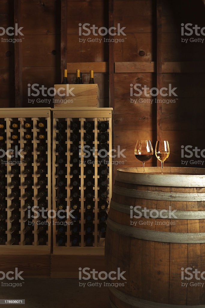 Wine Cellar with Racks and glasses stock photo