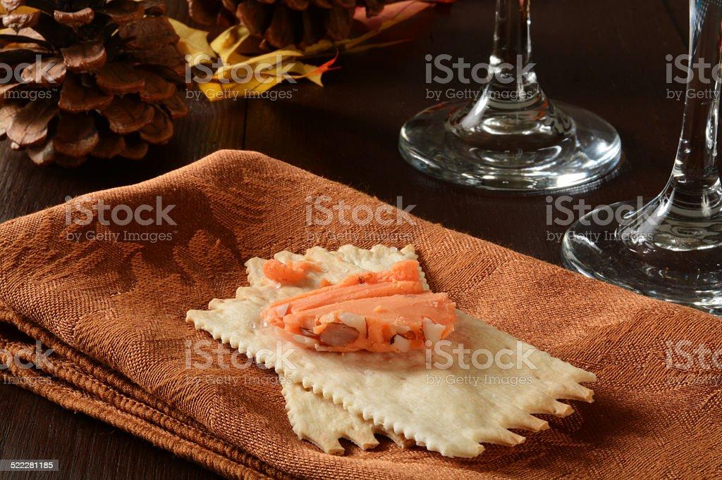 Wine, cheese and crackers stock photo