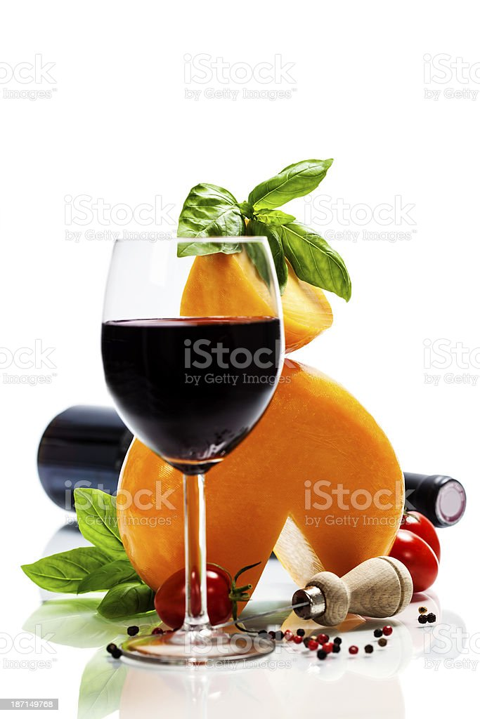 Wine, cheese and italian ingredients royalty-free stock photo