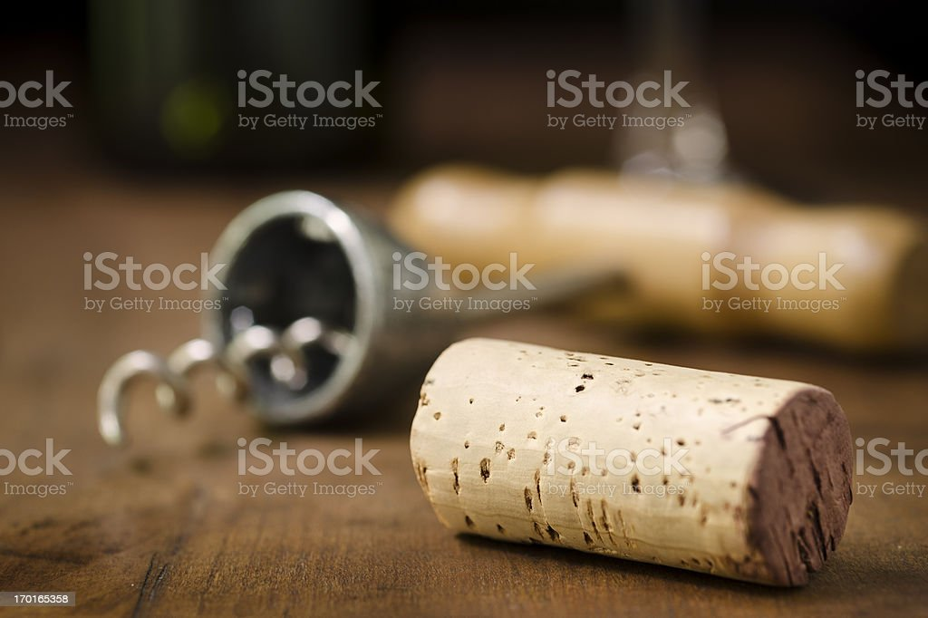 Wine Cork, Corkscrew, Wineglass, and Bottle Horizontal stock photo