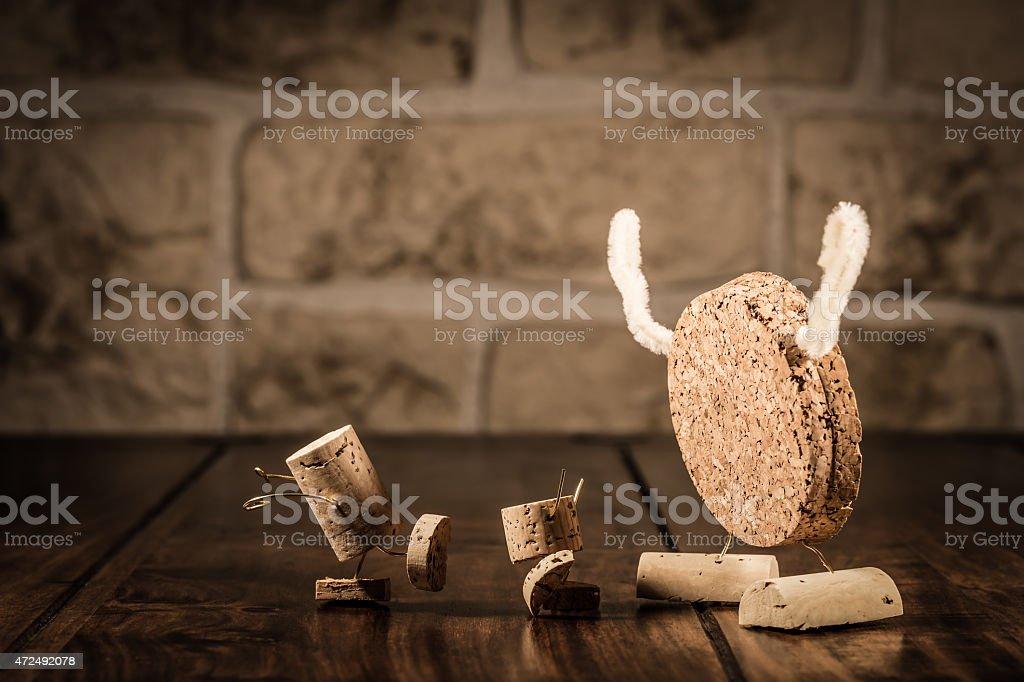 Wine cork figures, Concept Bogeyman and Children stock photo