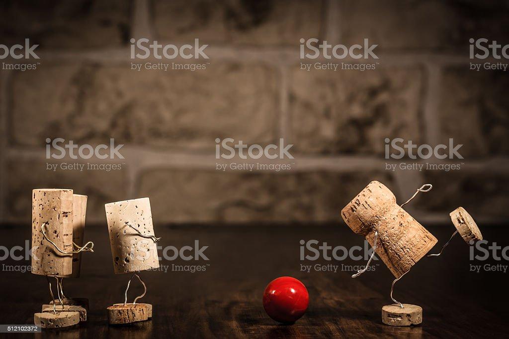 Wine cork figures, Concept Bowling stock photo