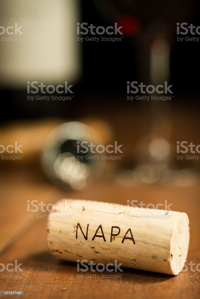 Wine Cork from Napa Vertical stock photo