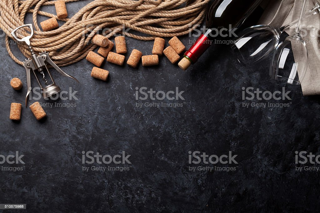 Wine, corks and corkscrew stock photo