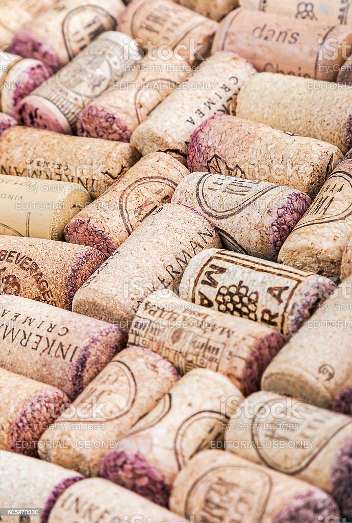 Wine corks famous wine producers Massandra, Chateau, Inkerman, e stock photo