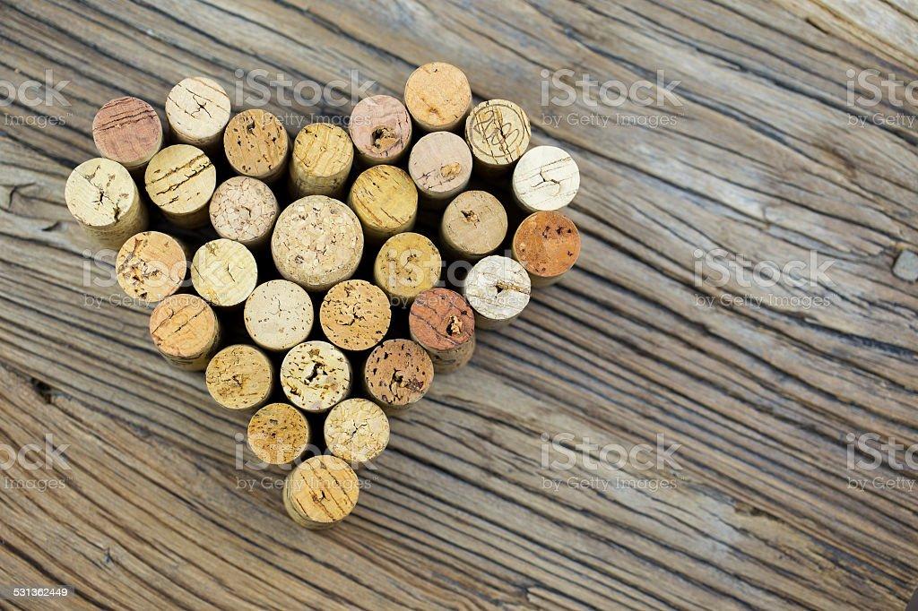 Wine corks form a heart shape image stock photo