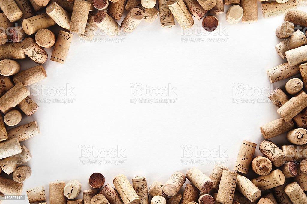 Wine corks frame isolated on white background stock photo