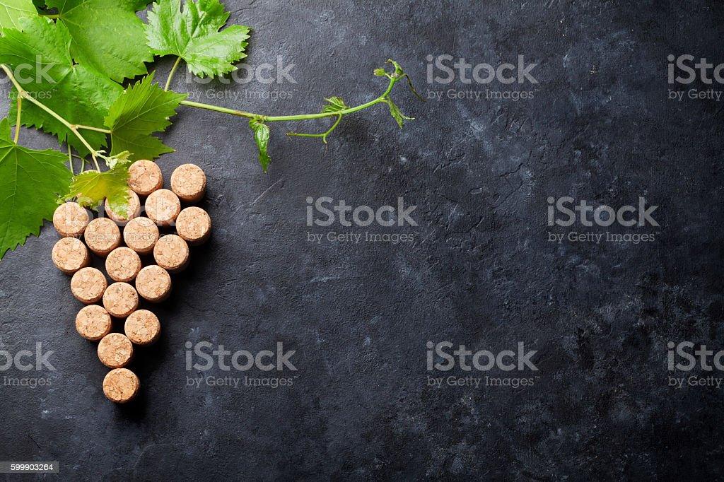 Wine corks grape shape and vine stock photo