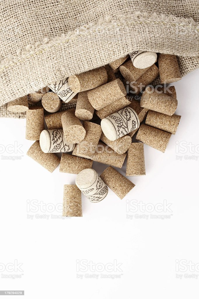Wine corks in a sack royalty-free stock photo
