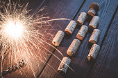 Wine corks in form of Christmas tree and sparklers
