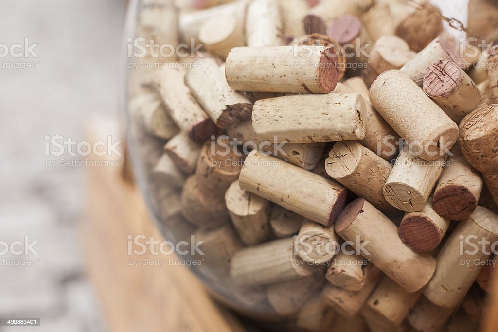 Wine corks in glass ball. stock photo