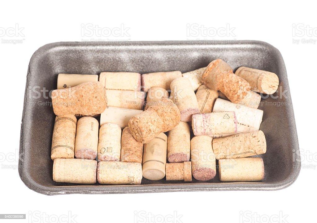 wine corks isolated on white background stock photo