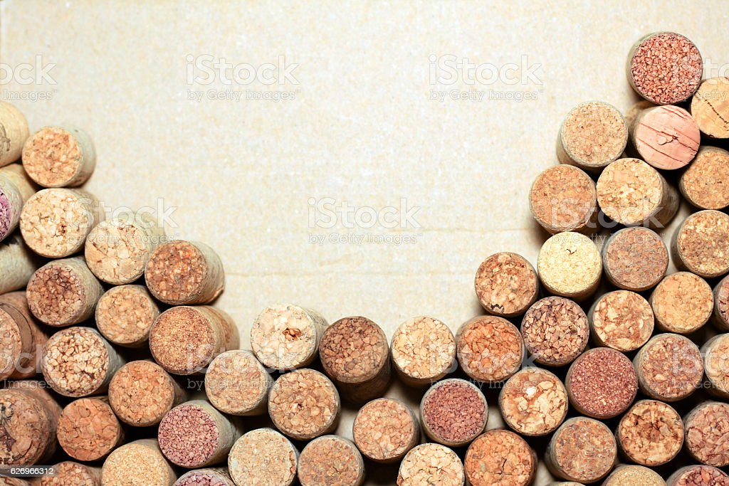 Wine corks on paper background for your text stock photo
