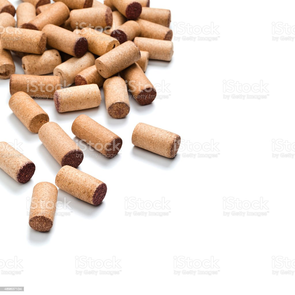 Wine corks on white background stock photo