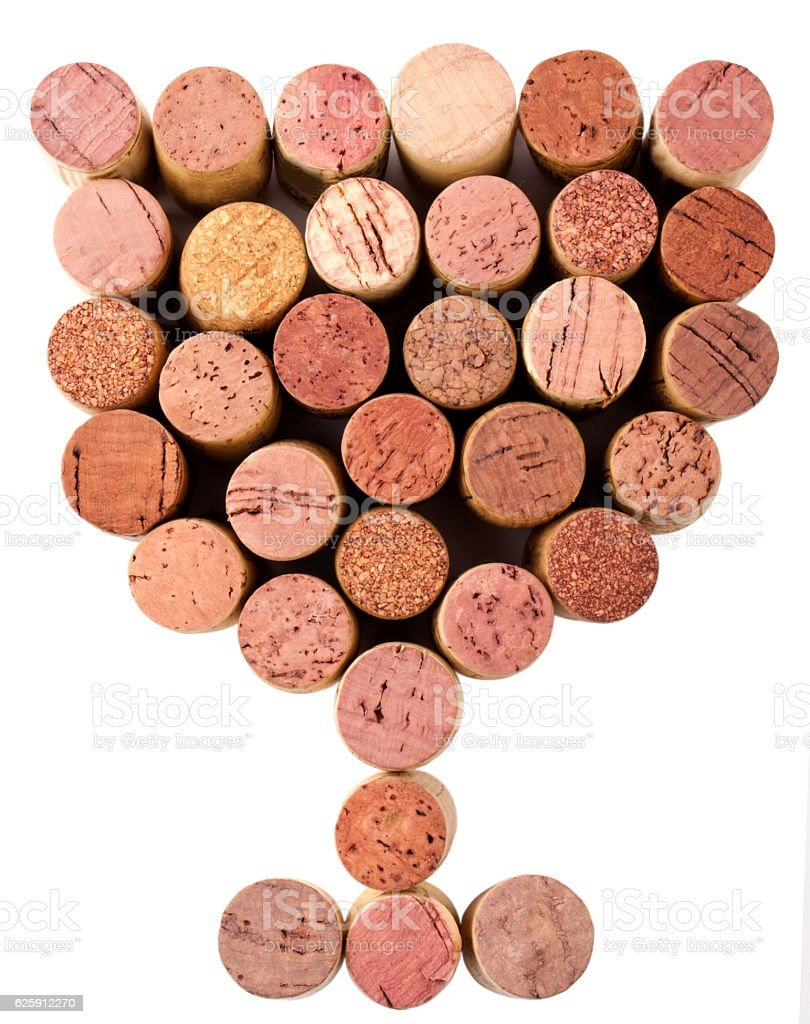 Wine corks the shape of a wine glass, clipping path stock photo