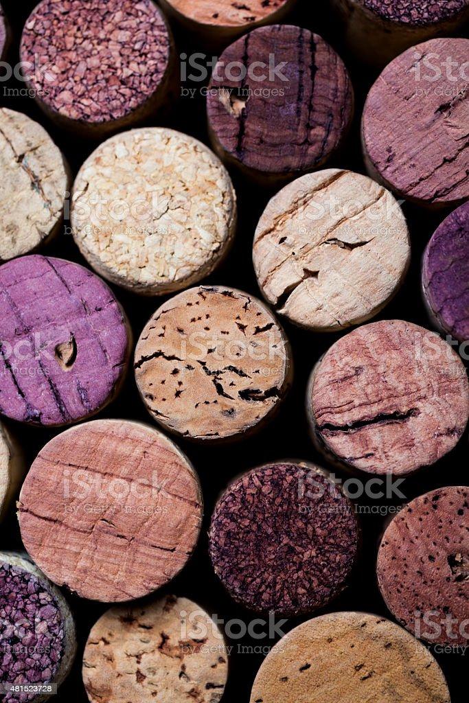 Wine corks' tops stock photo