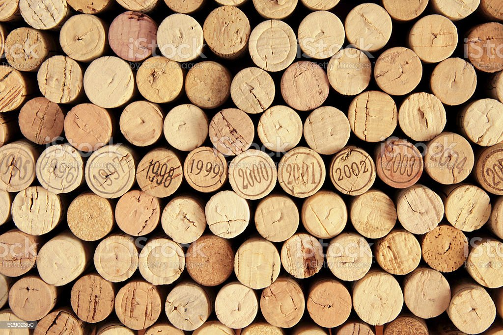 Wine corks with a row of dates stock photo