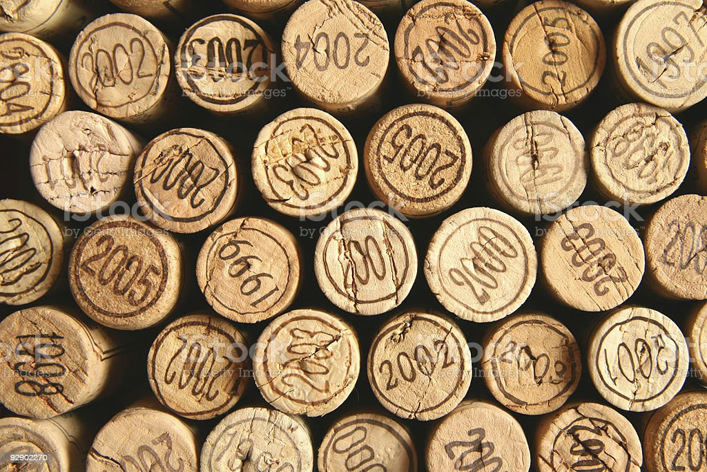 Wine corks with dates stock photo