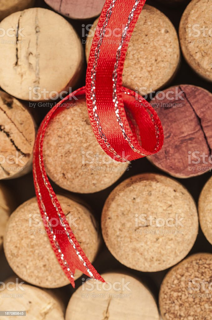 Wine corks with red ribbon royalty-free stock photo