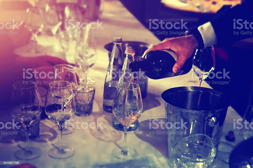 Wine degustation catering services background with glasses of wine stock photo