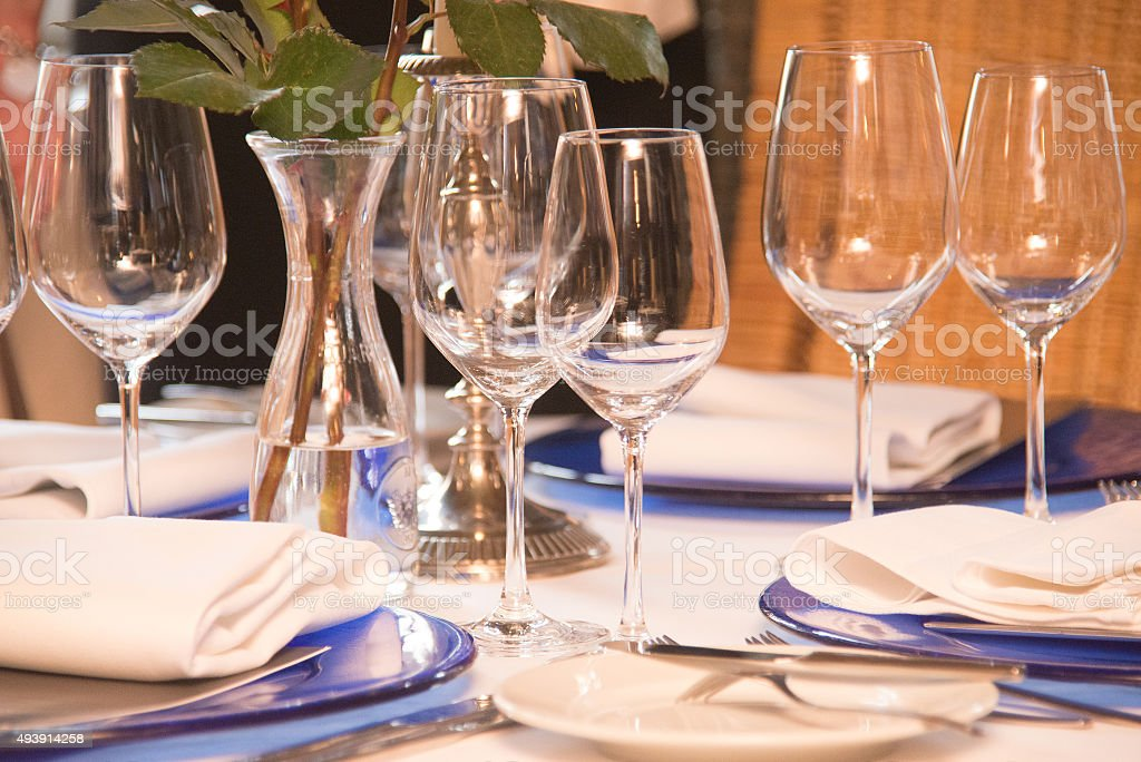 wine drinking glasses on table stock photo