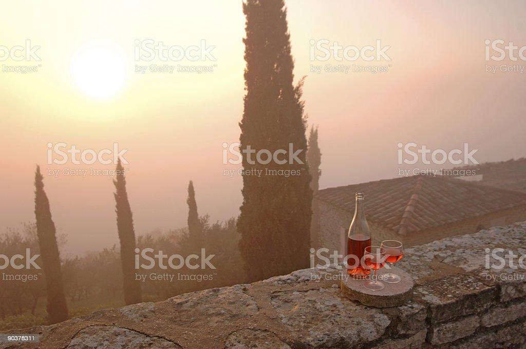 wine ensemble on a wall royalty-free stock photo