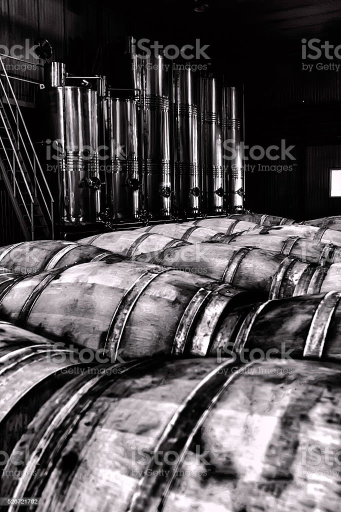 Wine Factory -Black and Whie stock photo
