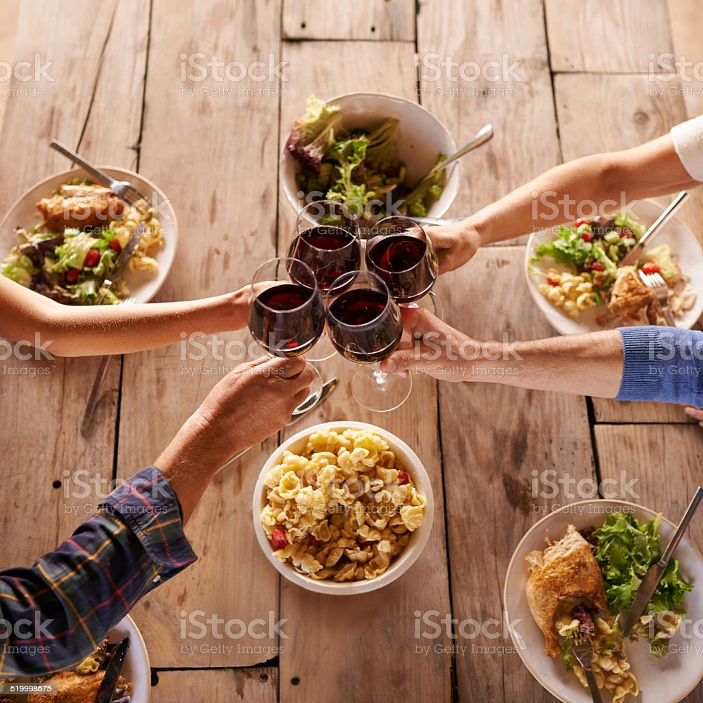 Wine, food and great friends stock photo