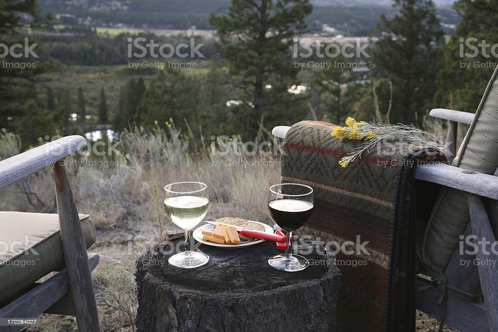 Wine For Two In The Country.Horizontal royalty-free stock photo