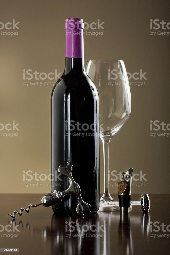 Wine glass and bottle with  accessories set royalty-free stock photo