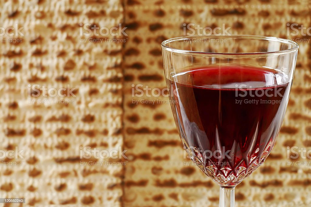 Wine Glass and Matzah royalty-free stock photo
