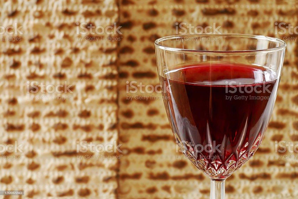 Wine Glass and Matzah stock photo
