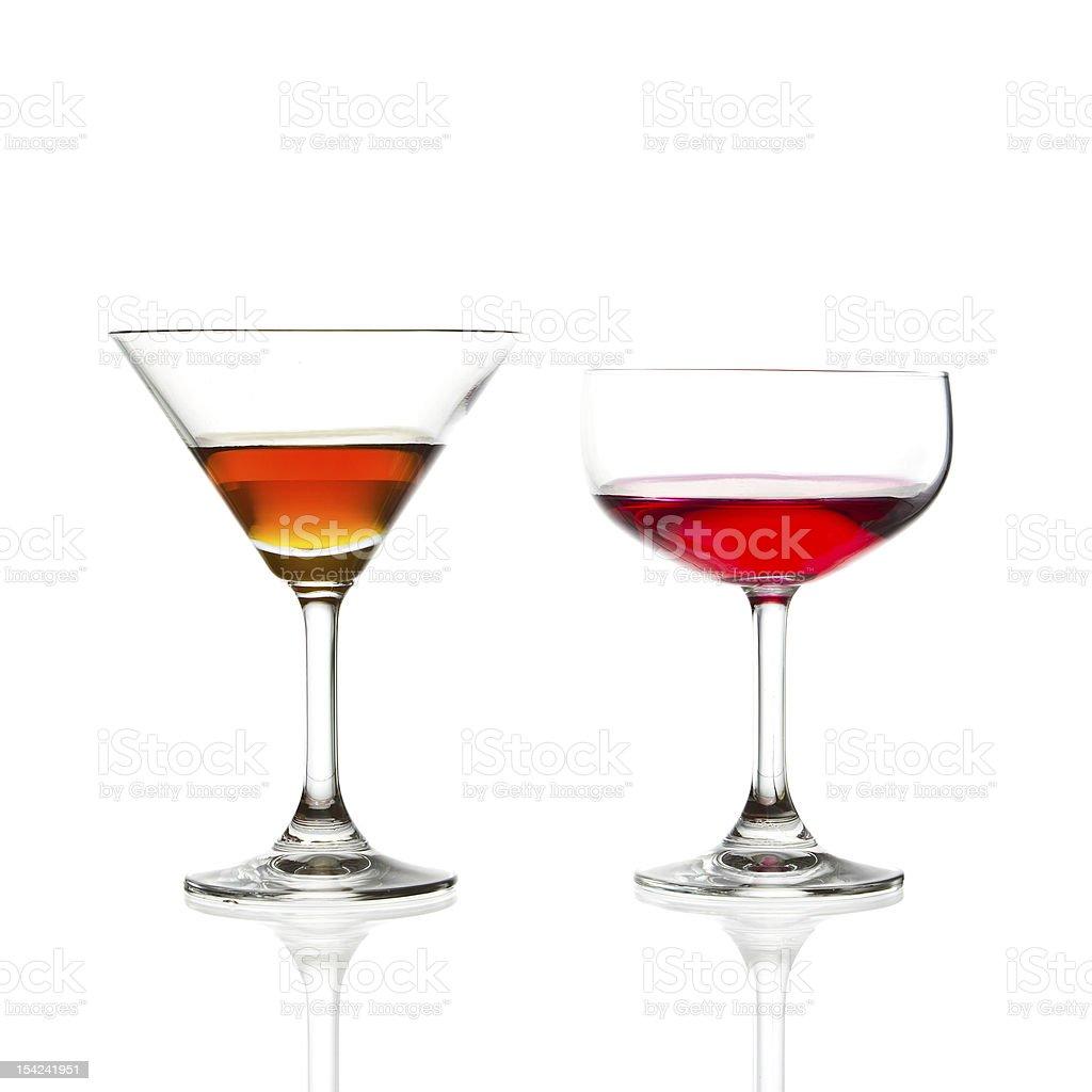 Bicchiere di vino e cocktail rosso isolato foto stock royalty-free