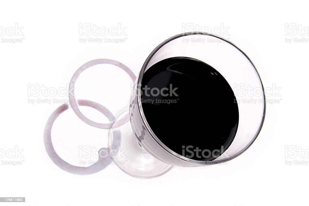 Wine glass and red stains stock photo