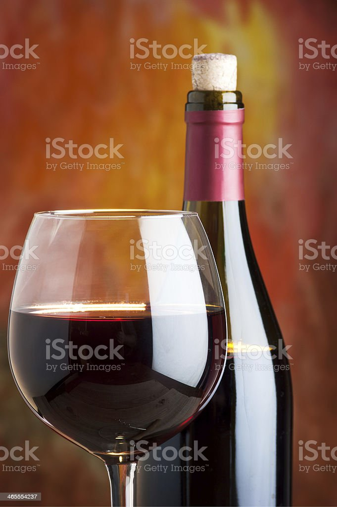 Wine, glass and the bottle royalty-free stock photo