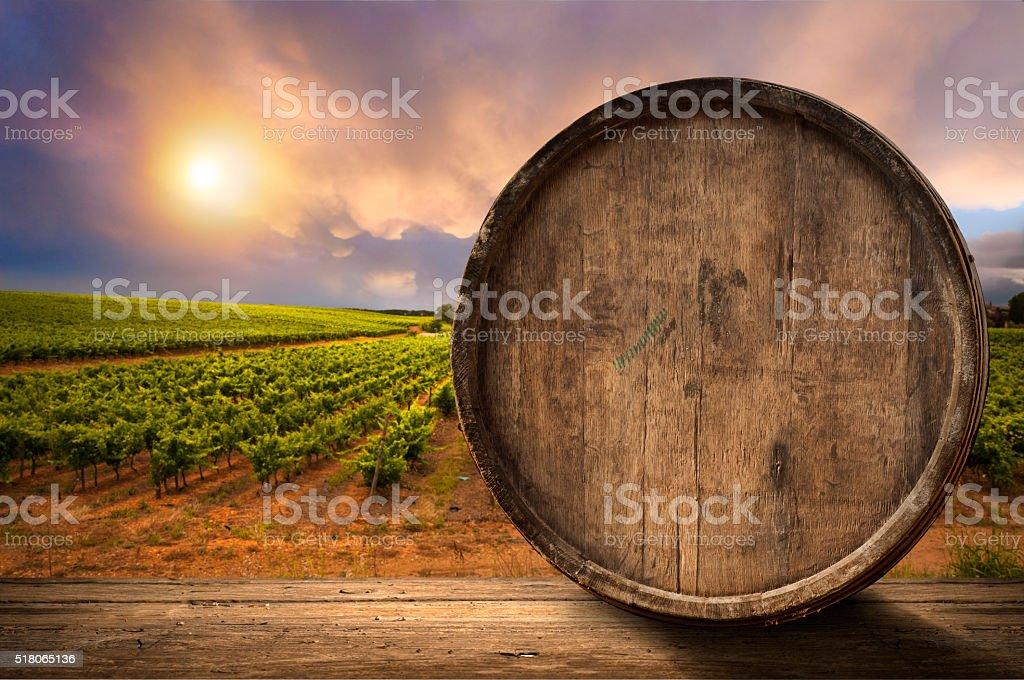 wine glass on wodden barrel stock photo