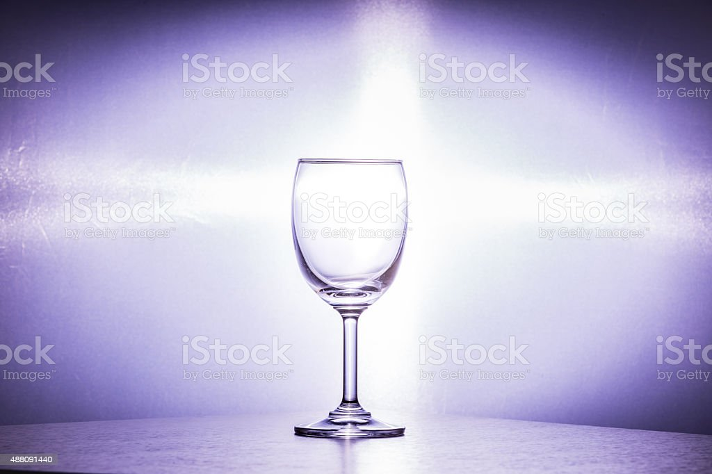 Wine glass placed on white background. stock photo