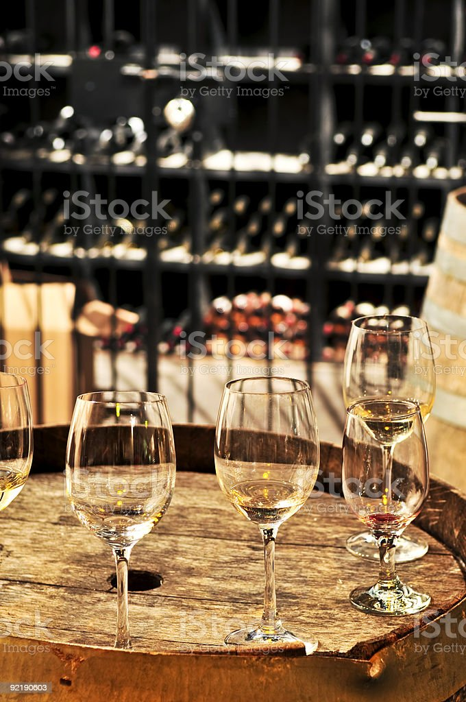 Wine  glasses and barrels royalty-free stock photo