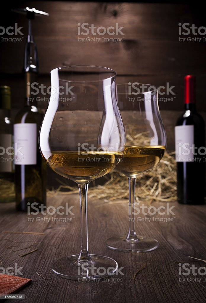 wine glasses and bottles royalty-free stock photo