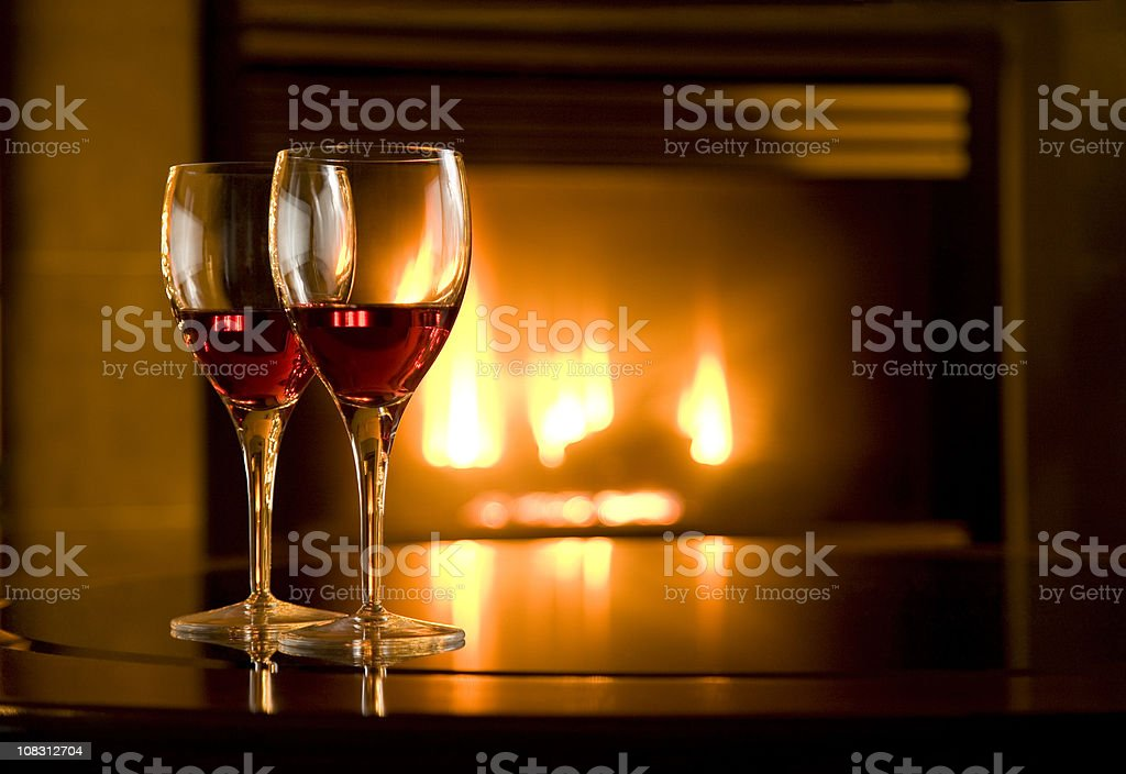 Wine Glasses and Fireplace royalty-free stock photo