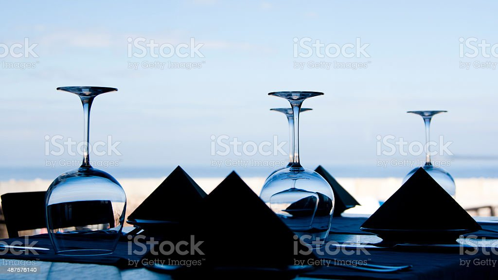 Wine glasses and napkins royalty-free stock photo
