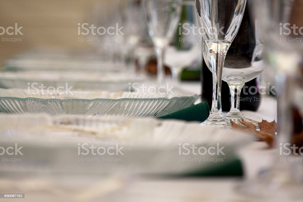 Wine Glasses and Plates stock photo